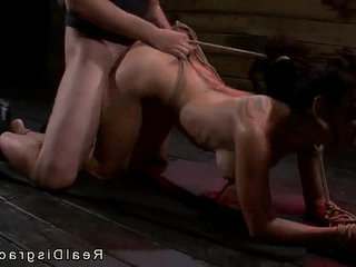 Tied to the floor by her wrists busty babe pov fucked