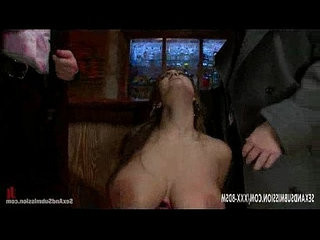 Tied busty brunette babe in lingerie gives double blowjob