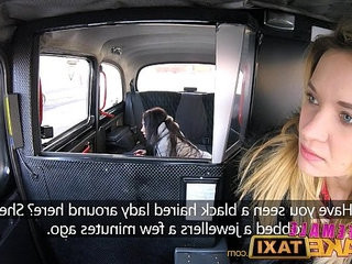 Female Fake Taxi Pretty brunette first lesbian orgasm with strap on cock