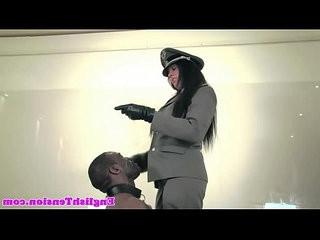 Rough femdom punishes black submissive