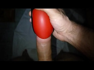 Wanking with my wifes piss filled masturbator