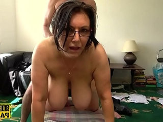 Busty MILF roughly fucked doggystyle