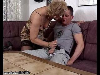 Horny granny in stockings sucking